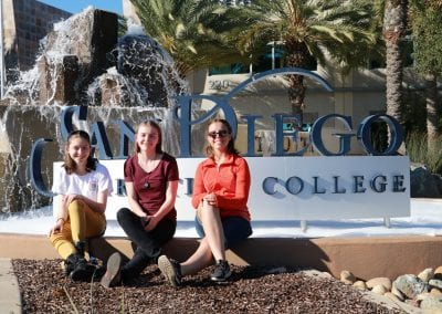 San Diego Christian College students pose in front of SDCC fountain