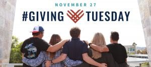 San Diego Christian College Giving Tuesday banner ad featuring students arm in arm