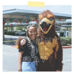 San Diego Christian College student poses with Hawk mascot
