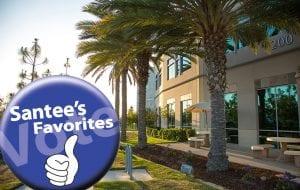 Vote Santee Favorites badge over image of San Diego Christian College campus