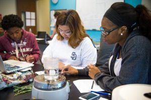 San Diego Christian College Bachelors of Biological Science students during a lab experiment involving plant samples
