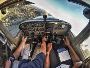 Cockpit of an airplane during pilot lessons