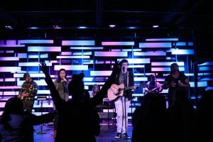 San Diego Christian College campus amenities chapel, student worship band plays to a cheering audience